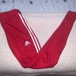Red adidas tiro pants